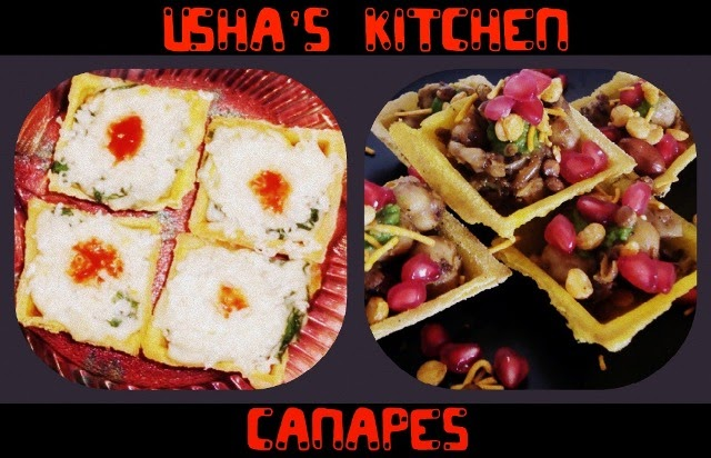 Usha 39 s kitchen canapes with various fillings 4 fillings for Easy canape fillings