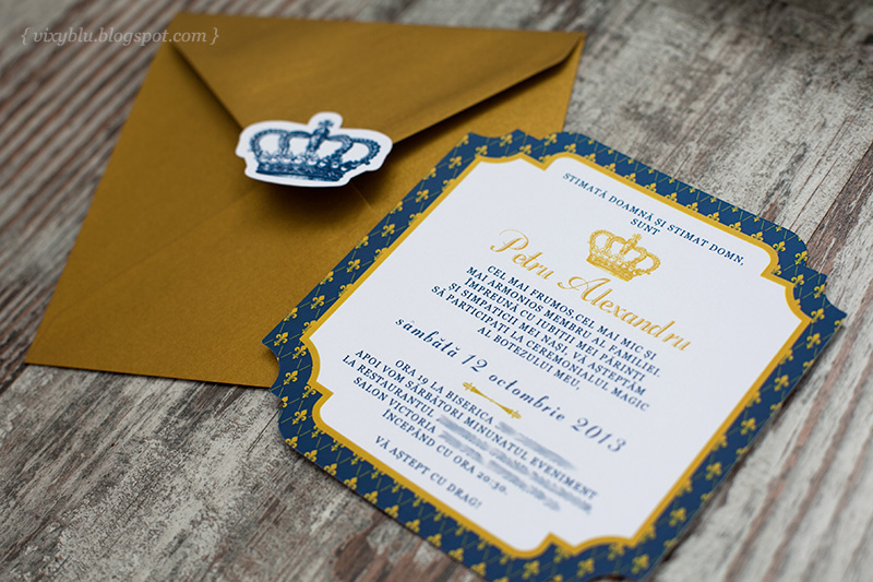 invitatie botez, invitatie regala, invitatie botez albastru si auriu, invitatie botez coroana