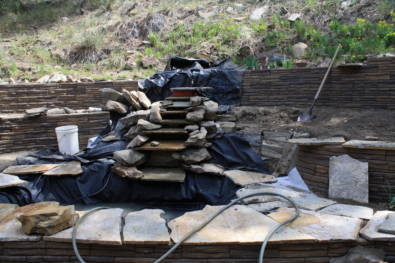 Living and dyeing under the big sky pond and waterfall for Small pond construction