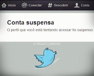 Perfil suspenso conta suspensa Twitter