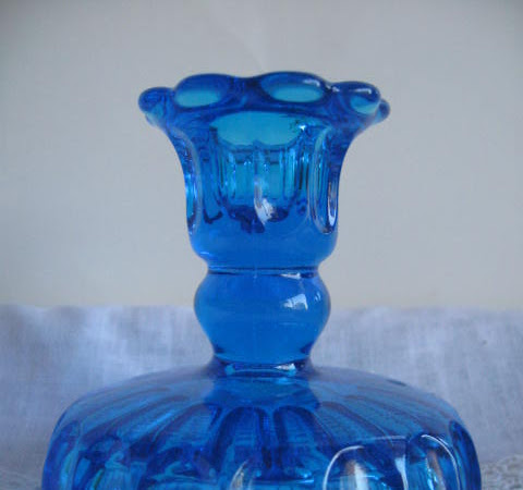 Cobalt blue pressed glass single Candle holder or pedestal candy dish- Mid century