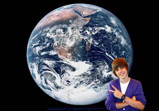 Wallpaper of Justin Bieber in Concert Saluting the fans in Planet Earth from Space desktop wallpaper