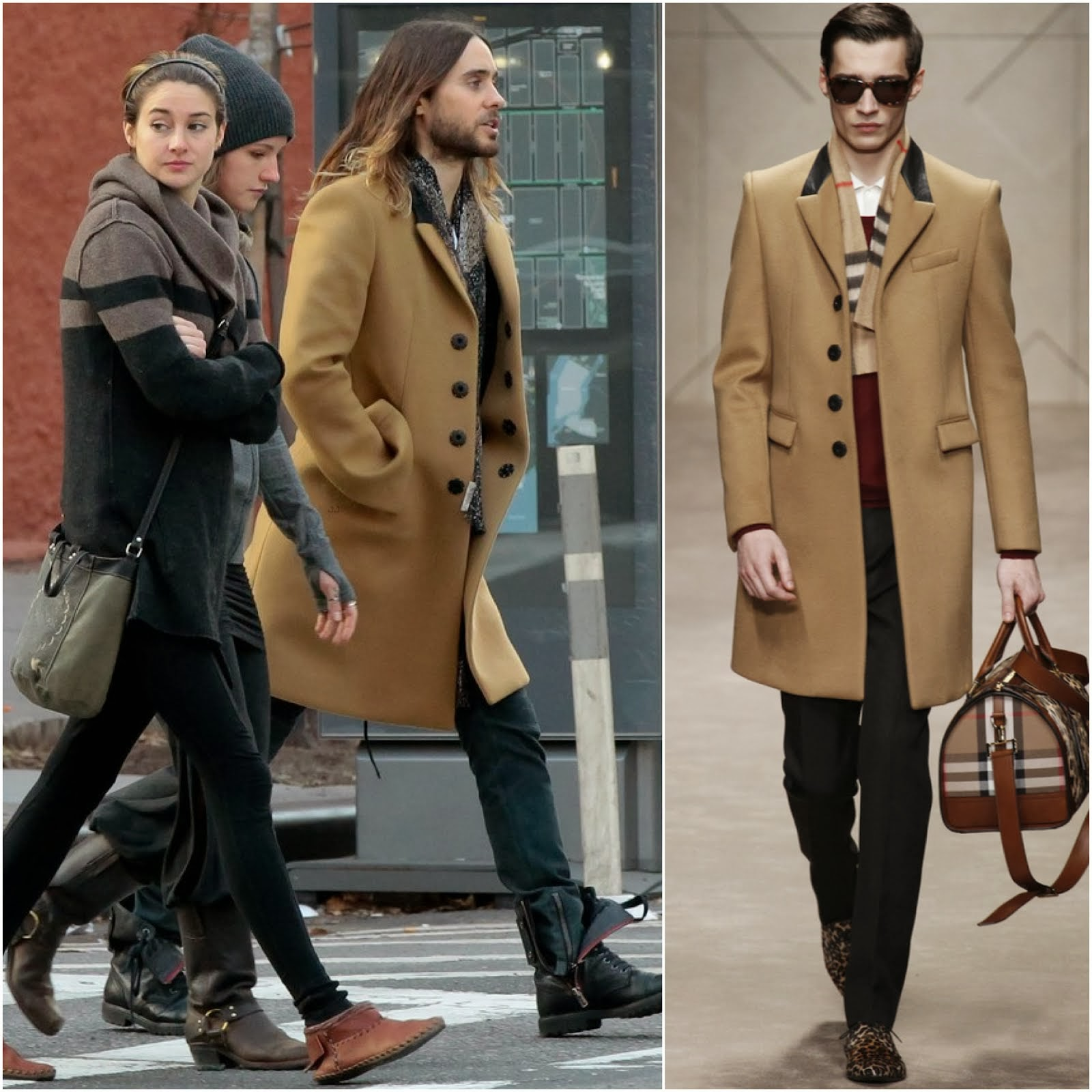 Jared Leto in Burberry Prorsum bonded cashmere blend overcoat - New York Street Style