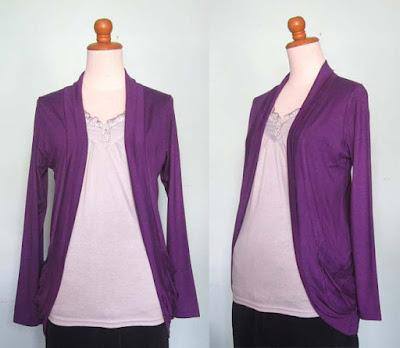 baju hamil kerja dengan cardigan ungu