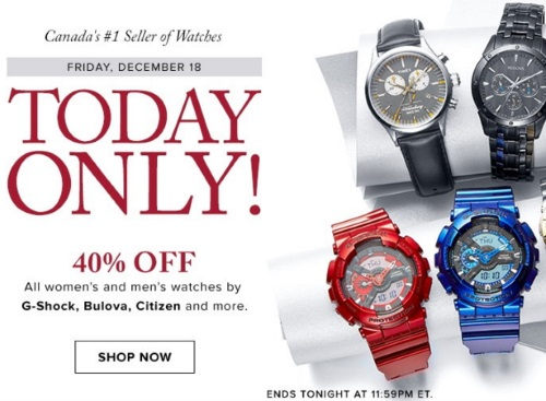 Hudson's Bay 40% Off Women's & Men's Watches