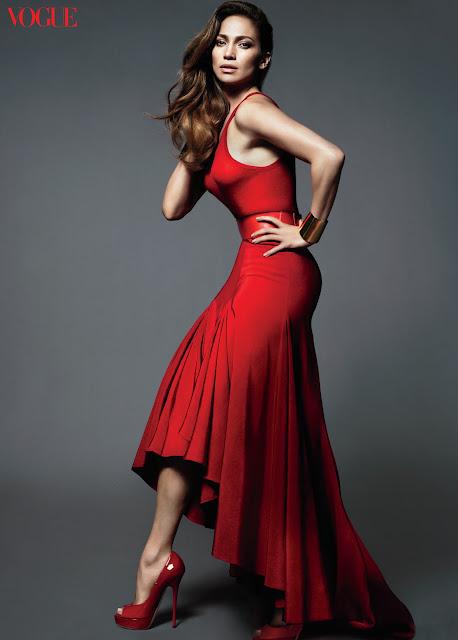 Jennifer Lopez in red dress