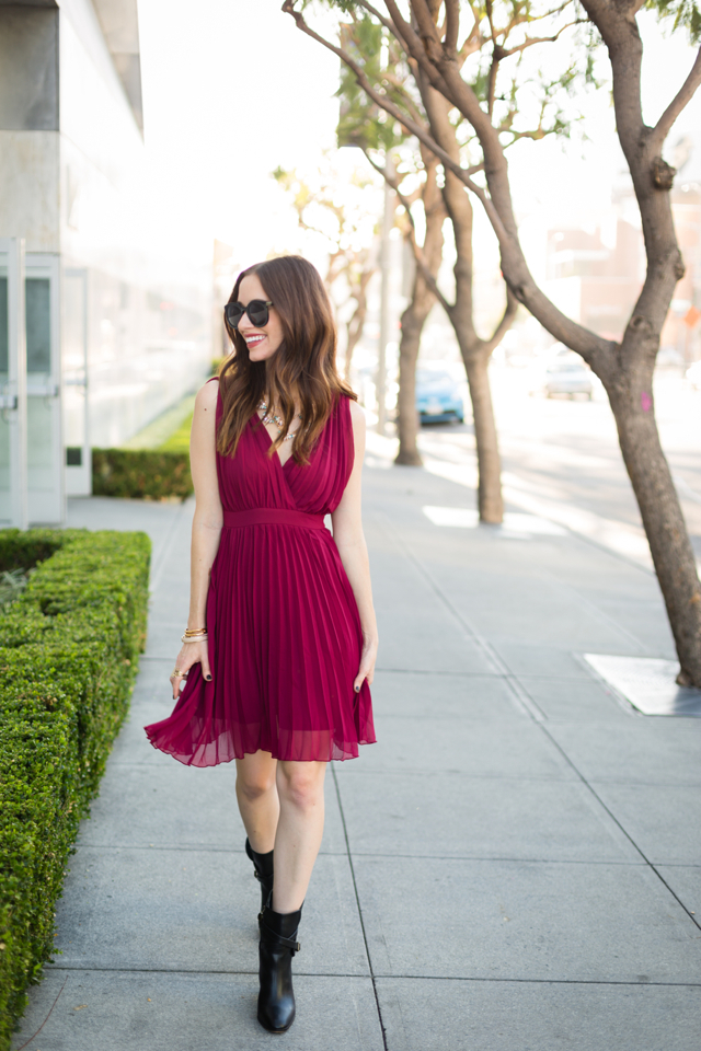 frocktober burgundy v-neck dress with pleated skirt from Ruche on M Loves M @marmar