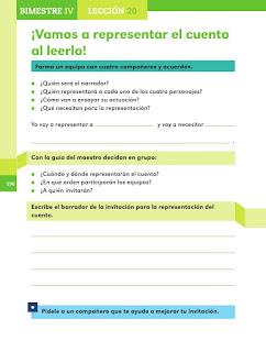 Apoyo Primaria Español 2do grado Bloque 4 lección 20 ¡Vamos a representar el cuento al leerlo!