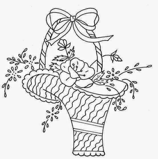 Patrones de Bordados, canasta de flores , Patrones para Bordados ...