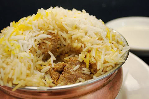 Chicken Biryani in a brass pot