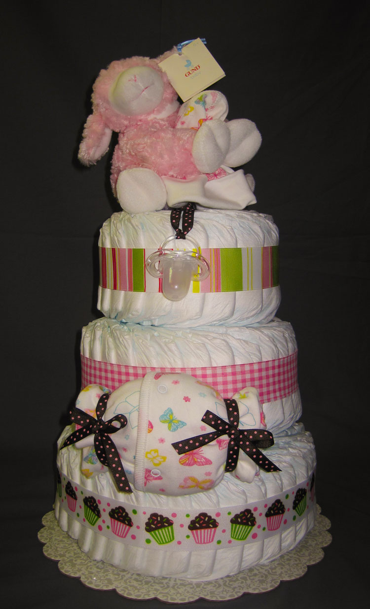 Pink Lamb Large 3 Tier Diaper Cake