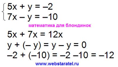 Решение системы уравнений методом сложения. Система двух линейных уравнений с двумя неизвестными, системы уравнений примеры. Сложение уравнений. Решение систем уравнений. Математика для блондинок.