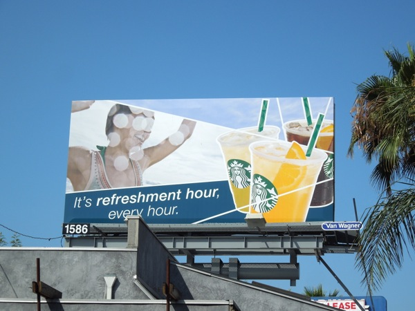 Starbucks Refreshment hour billboard