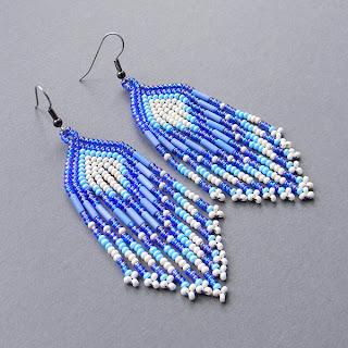 купить серьги из бисера украина, длинные сережки, этнические украшения
