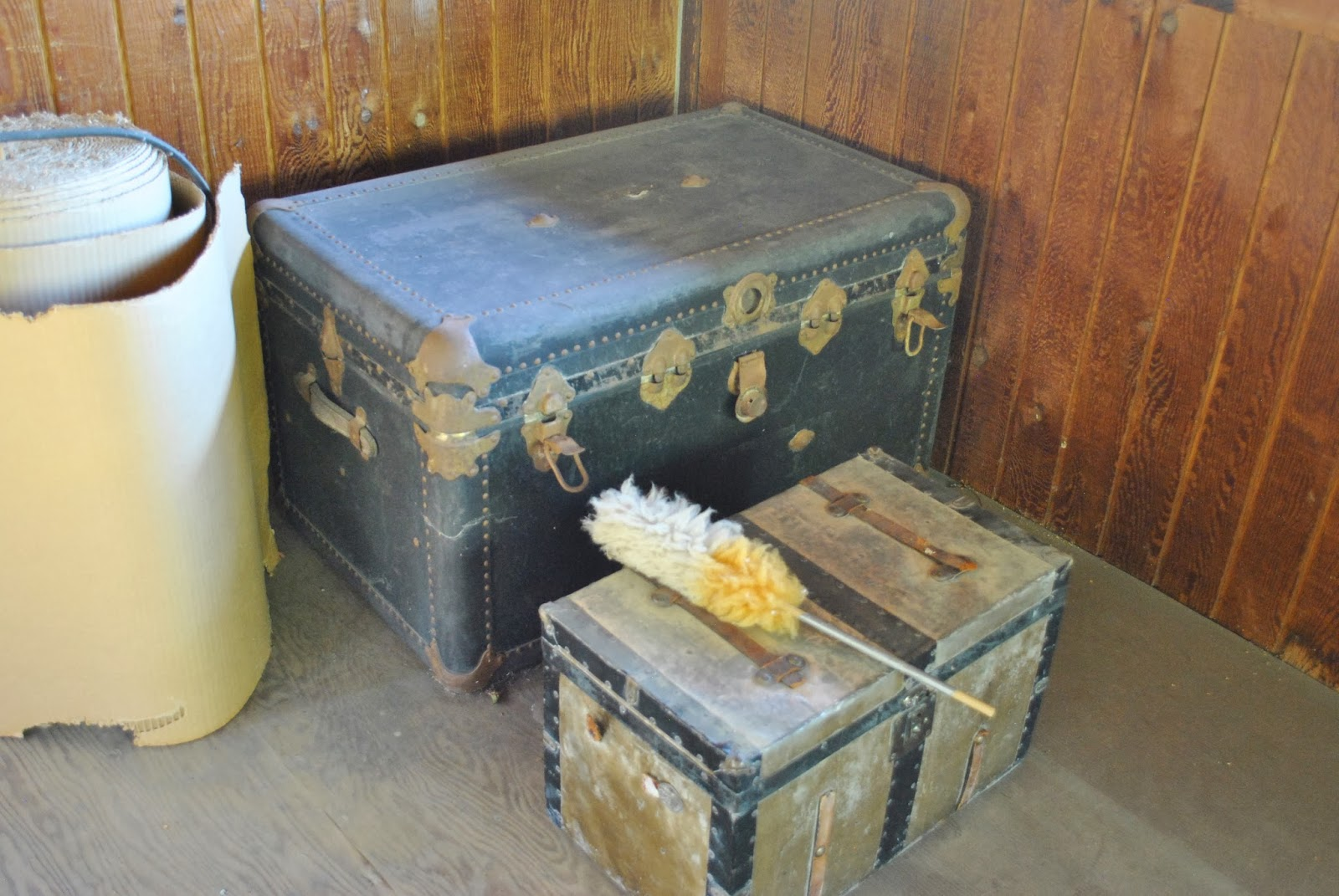 Two antique trunks - the larger one belonged to my father's father. title=