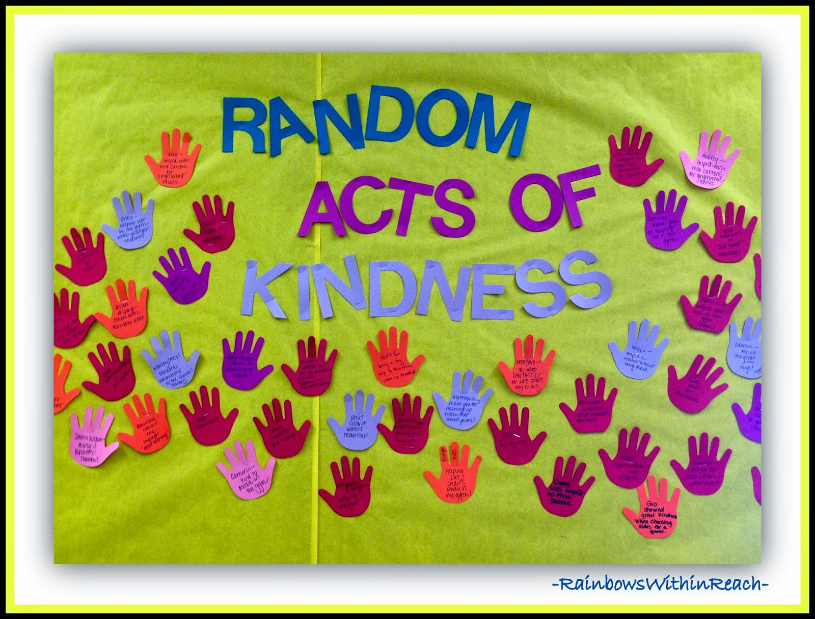 Bulletin Board of Random Acts of Kindness {Hands RoundUP at RainbowsWithinReach}