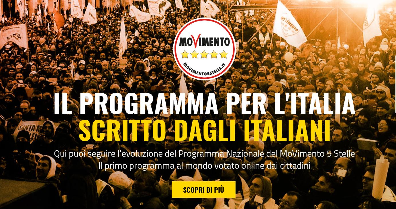 IL PROGRAMMA M5S 2018 PER L'ITALIA SCRITTO DAGLI ITALIANI - CLICCA QUI