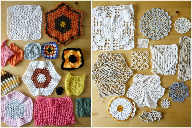 crochet and knitting samples by Adriana Oliveira's grandmother Maria
