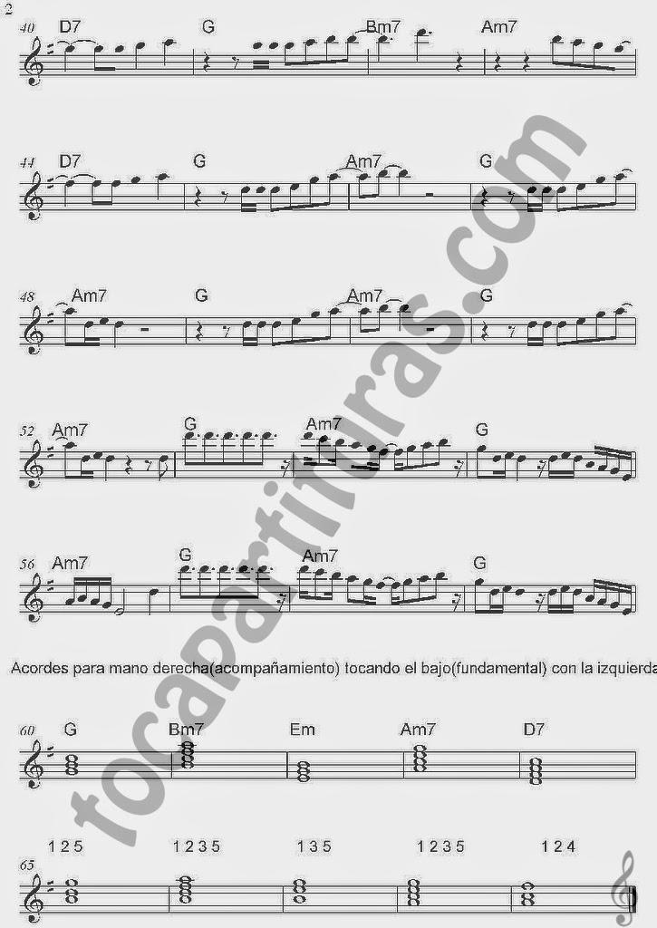 Partitura de Samba pa Ti 2 con Acordes de Carlos Santana en Clave de Sol Partitura recomendada para acompañar con guitarra y para violín, flauta travesera, saxofones, clarinete... Samba Pa Ti Sheet Music in Treble Clef with chords