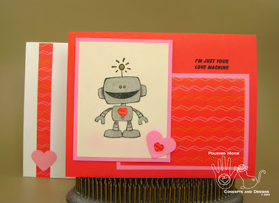 Picture of the Robot Love Machine card and its coordinating envelope