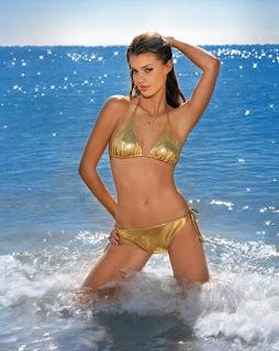 Catrin Claeson in Sexy Shiny Metallic Bikini