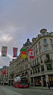 Olympic flags in London's West End