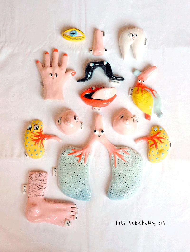 Objetos de diseño hechos con partes del cuerpo