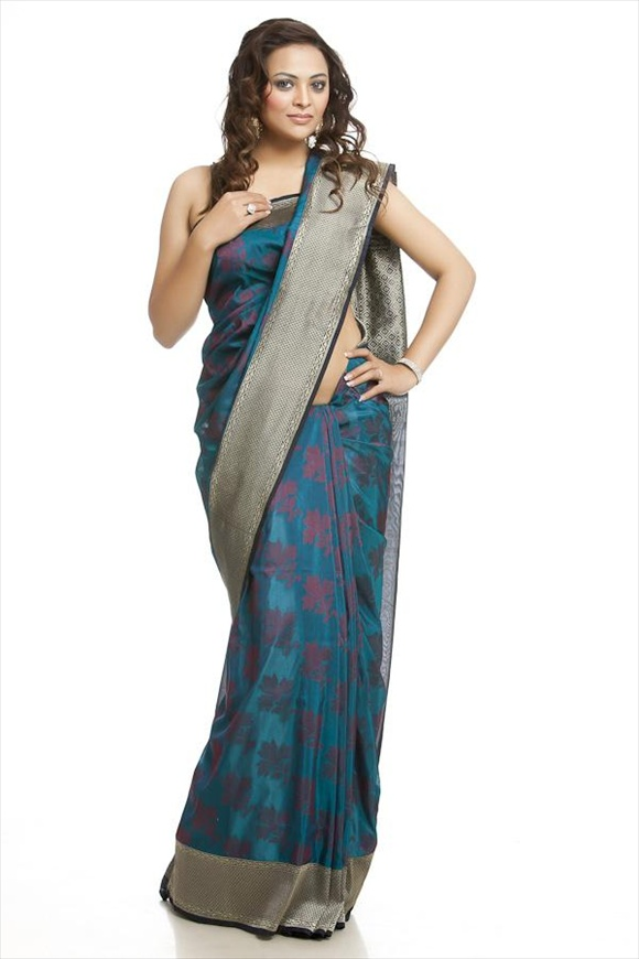 Pool Blue Georgette Banarasi Saree
