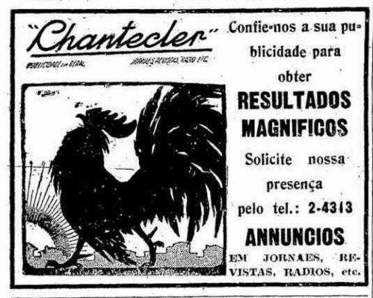 Agência de Publicidade Chantecler em 1936. Campanha em busca de novos clientes.