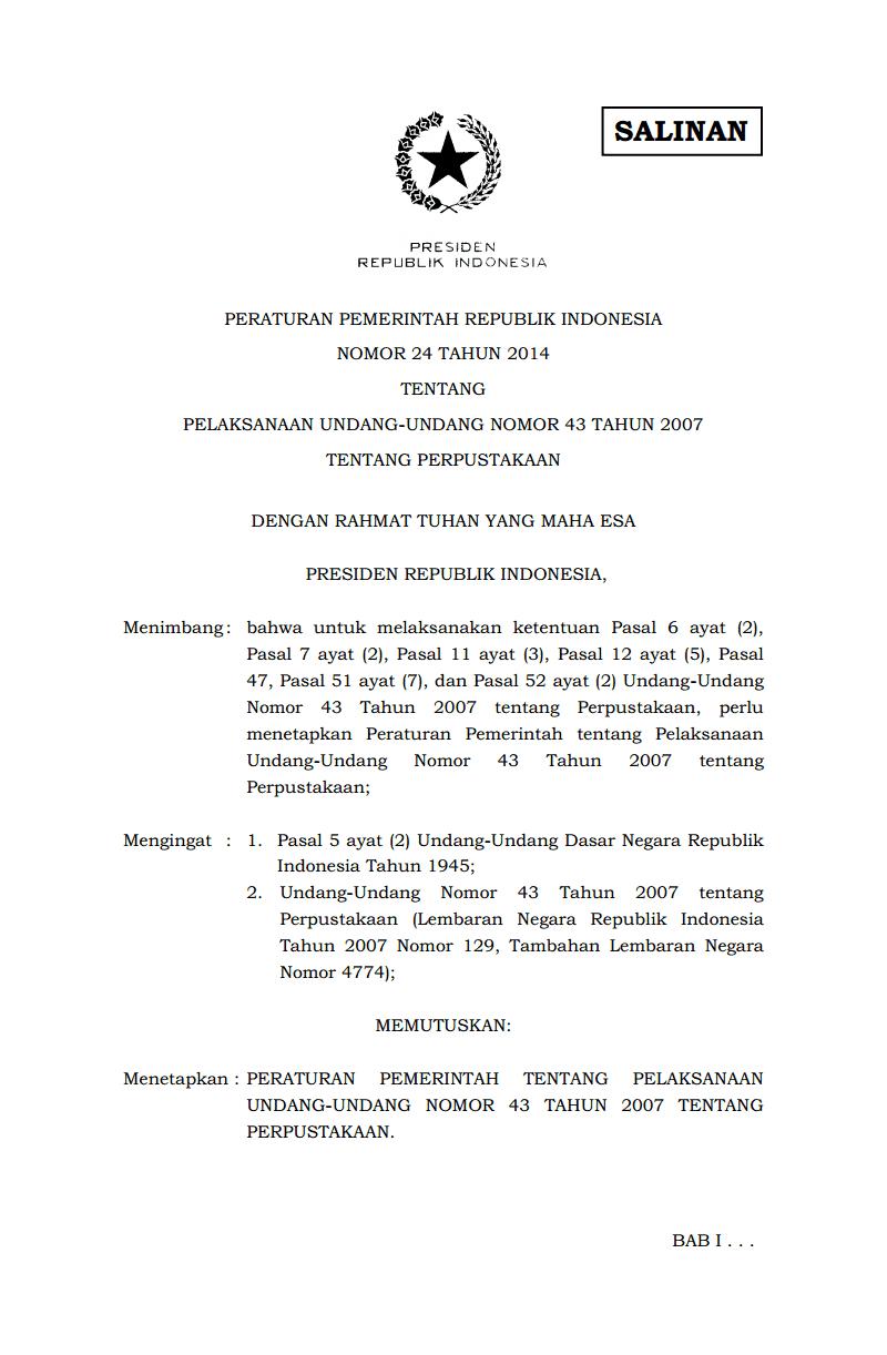 Download PP No.24 Tahun 2014 Tentang Pelaksanaan UU NO.43 Tahun 2007 Tentang Perpustakaan