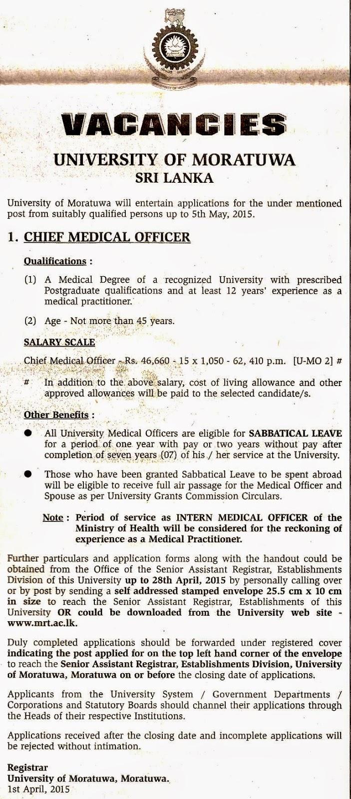 Chief Medical Officer Vacancies University of Moratuwa – Chief Medical Officer Job Description