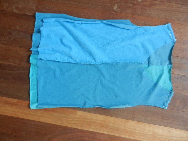 a blue t-shirt refashion in progress