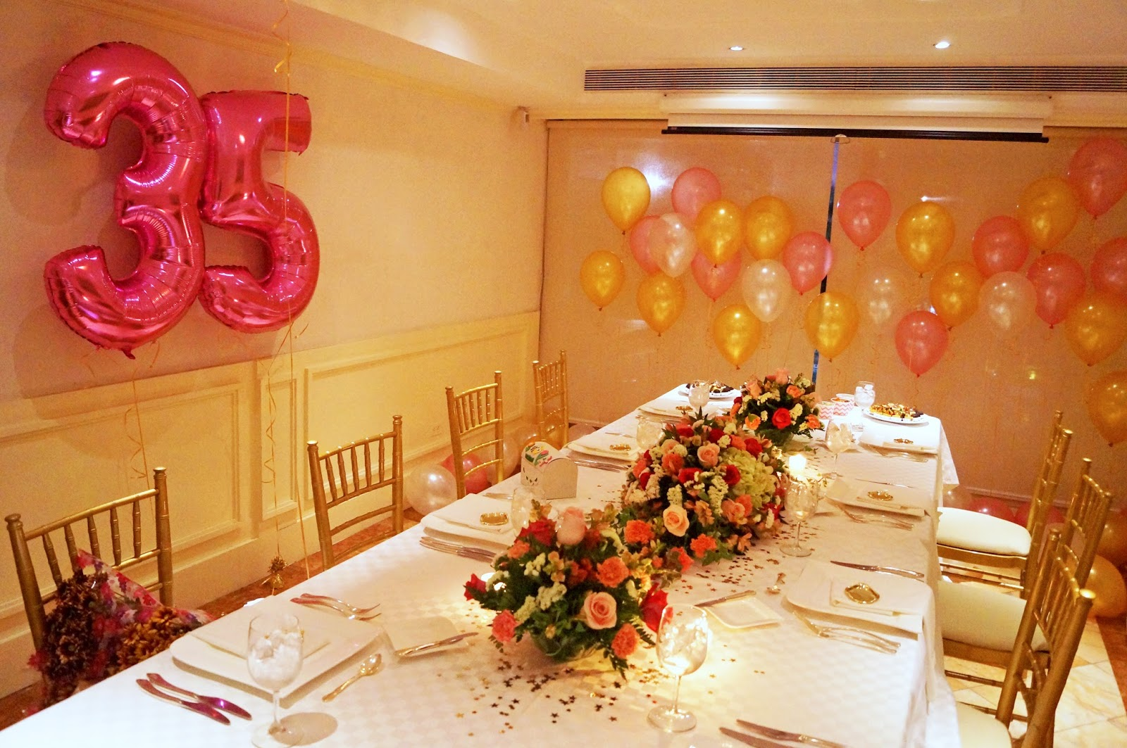 Pink and Gold Birthday Decor