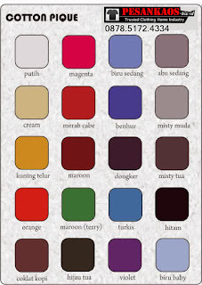 Katalog Warna Kaos Cotton Combed 4