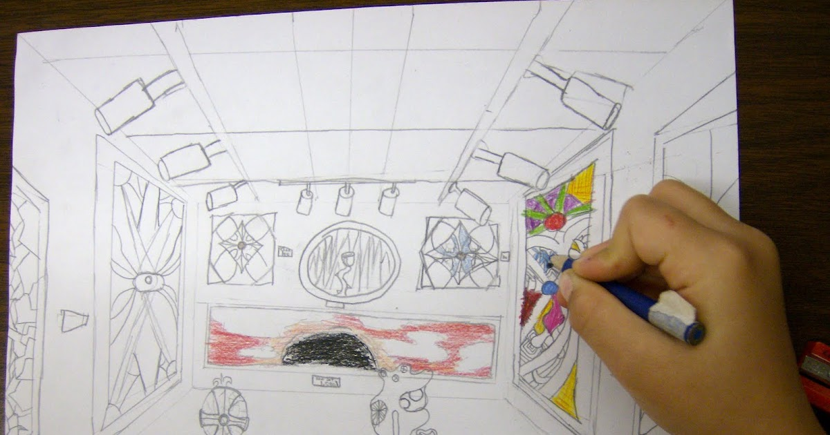 Zilker Elementary Art Class 5th Grade Perspective Drawings