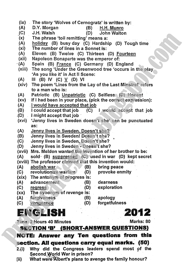 English-2012-five-year-paper-class-XI