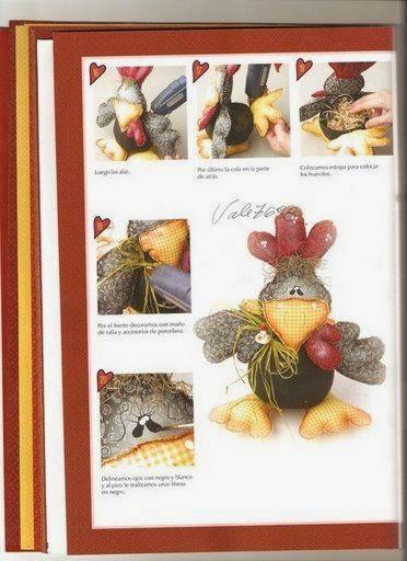 Moldes galinha de tecido com tema country