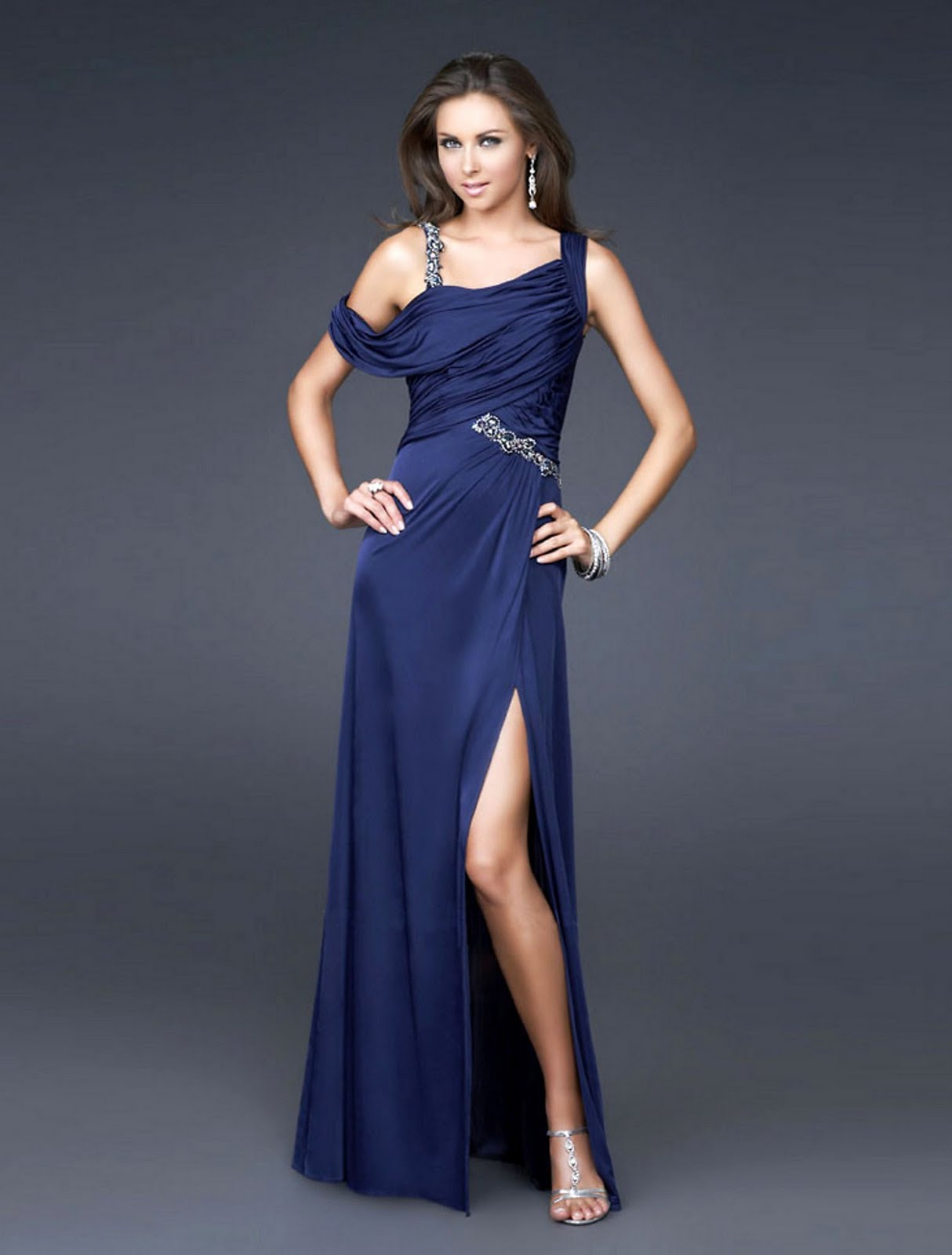 Deep Blue Asymmetrical Straps Chiffon Floor Length Prom ...
