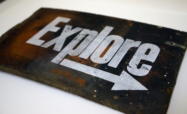 logo, graphic design, explore, fragment, screen print, half tone, design, urbex, tile, experiment, mmu, arrow, fragments, details, urban, exploration, travel, adventures, history, letterpress, found objects,