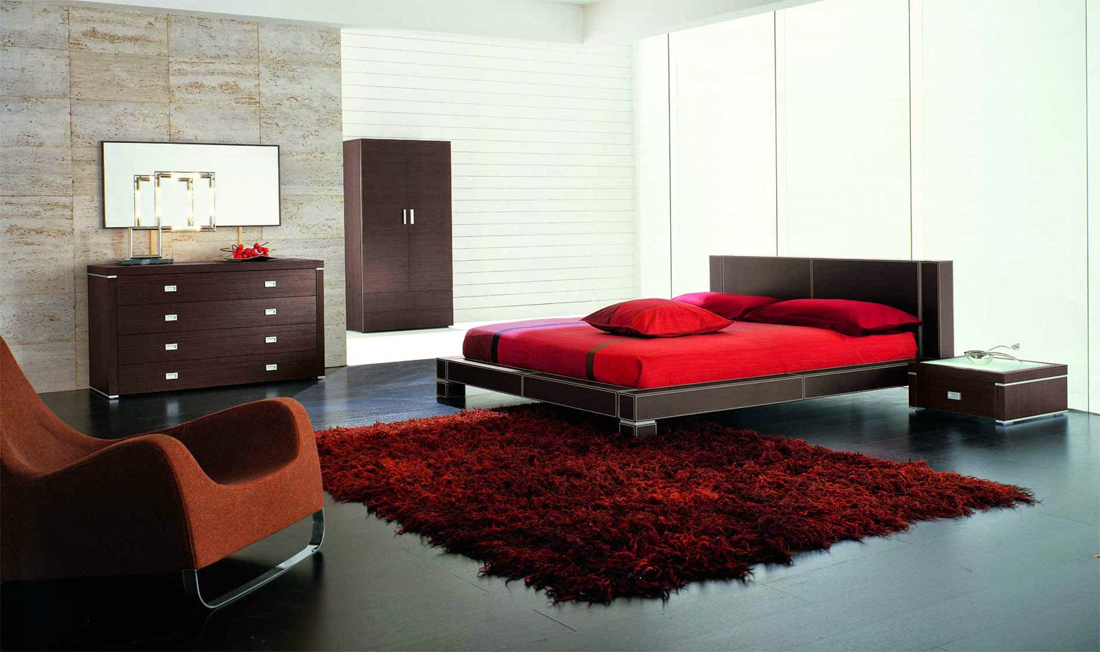 Furniture-Luxury-Bedroom-Minimalist-place-Black-Red-Carpet-with-feathers