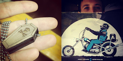 "Johnny Cupcakes 2012 Suitcase Tour ""Cupcakes From The Crypt"" Exclusives - Mini Coffin Necklace & Wolfman Biker Poster"