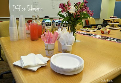 drinks, cups, flowers plates, in office conference room