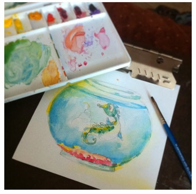 seahorse watercolor birthday card