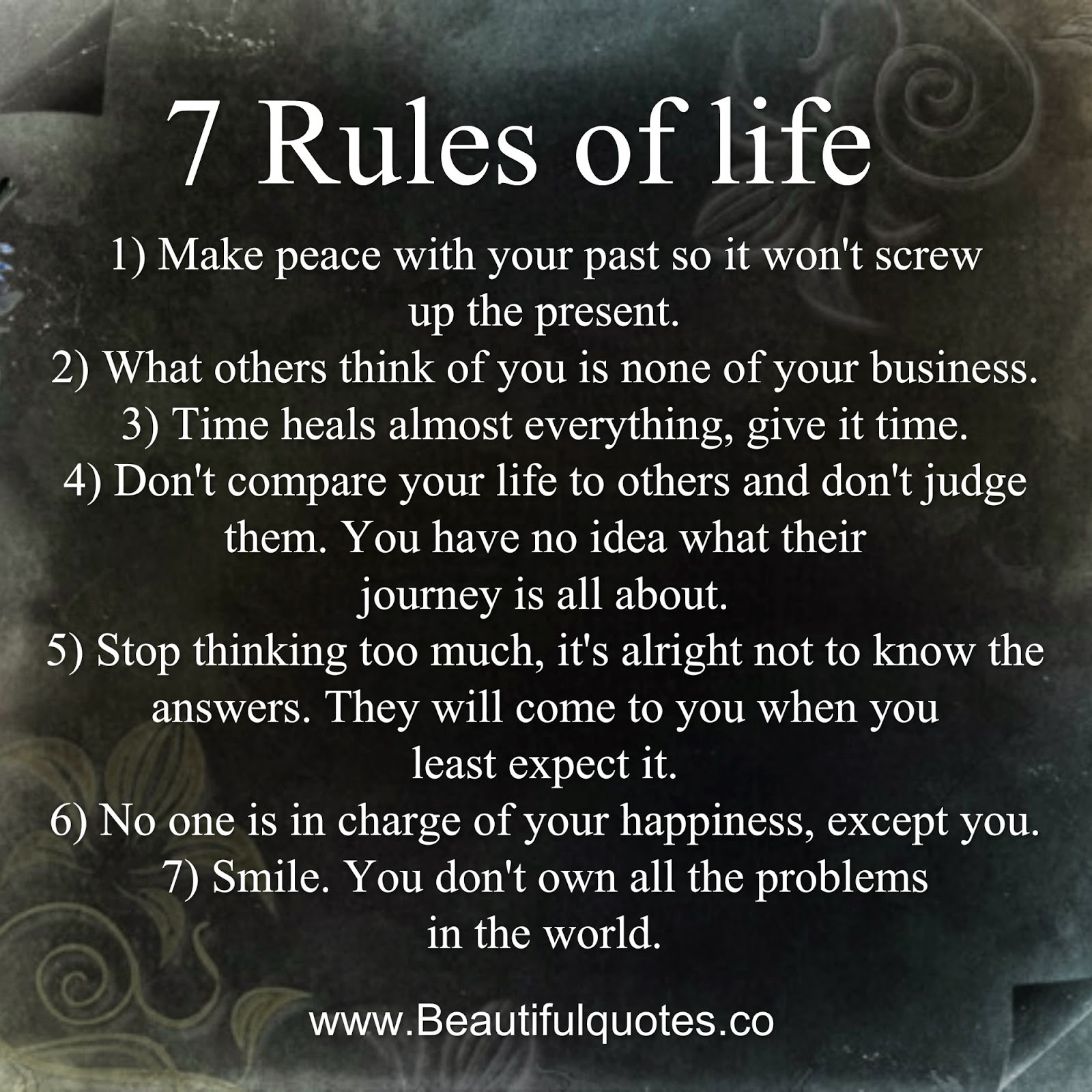 7 Rules Of Life Quote Inspiration Beautiful Quotes 7 Rules Of Life