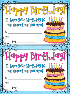 FREE birthday certificates