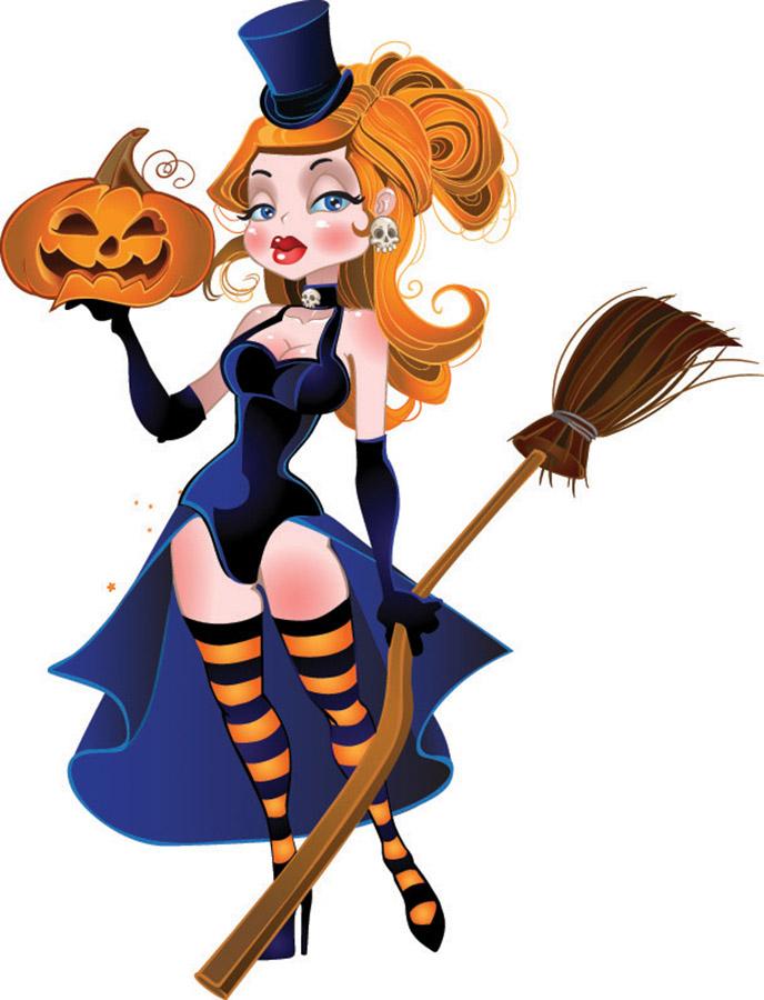 ハロウィン 魔女のクリップアート halloween witch vector イラスト素材2
