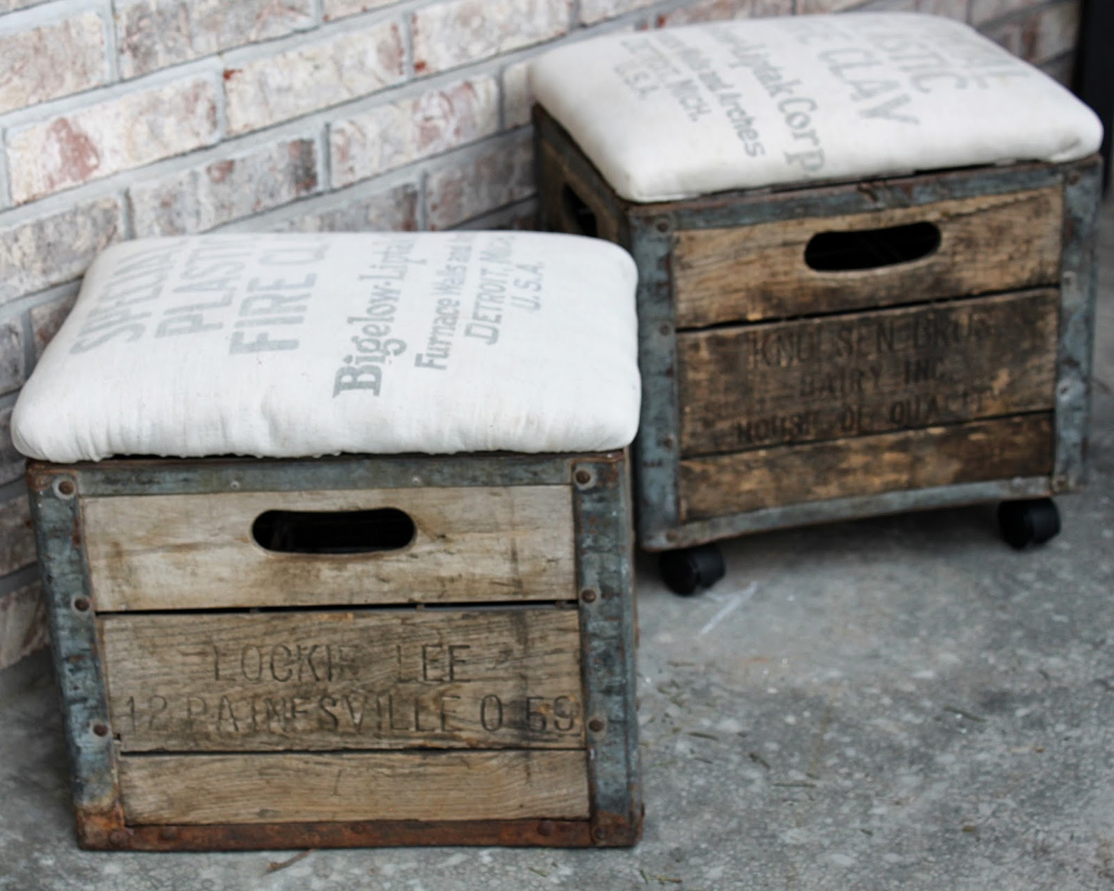 Namely original milk crate ottoman for What to do with milk crates