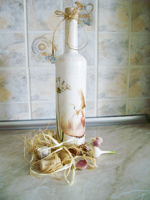 Декупаж винной бутылки hand made by Olja Vakonjuk