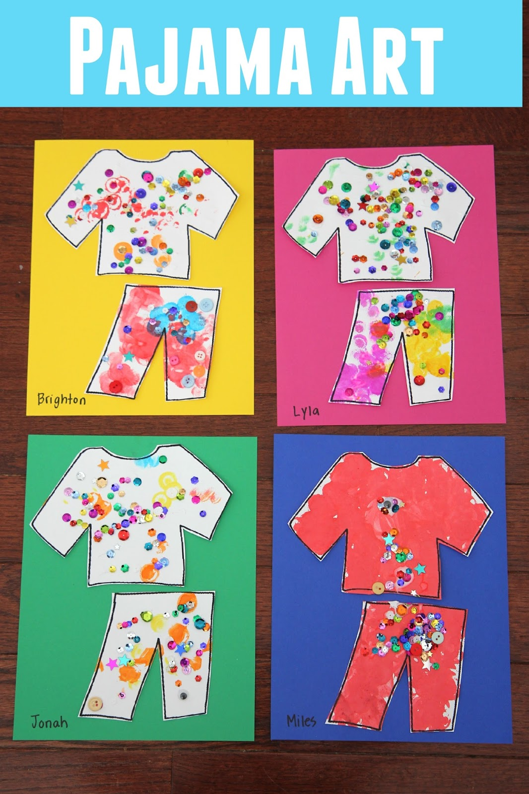 Toddler approved pajama name matching activity for kids for Art and craft games
