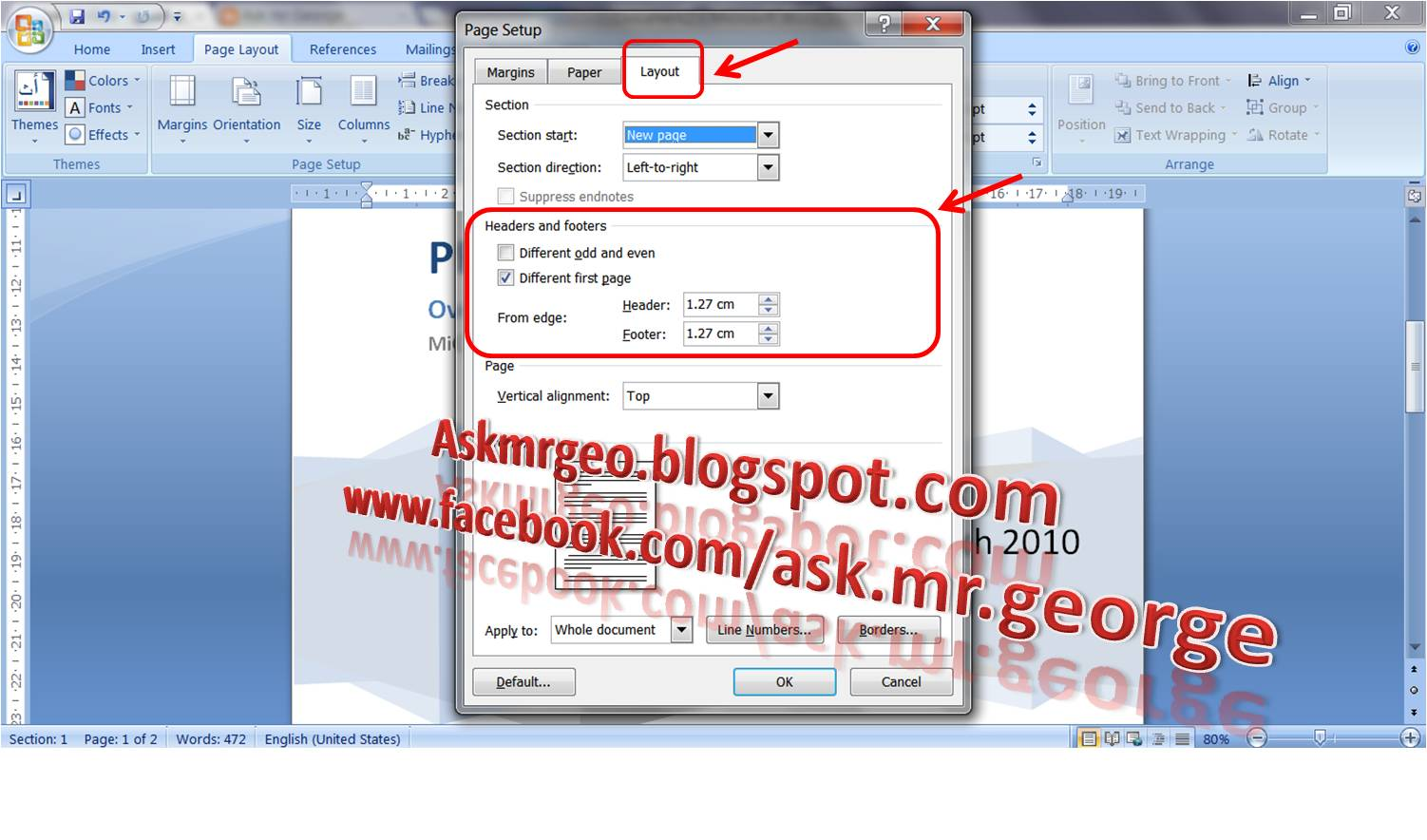 how to make headers on microsoft word different